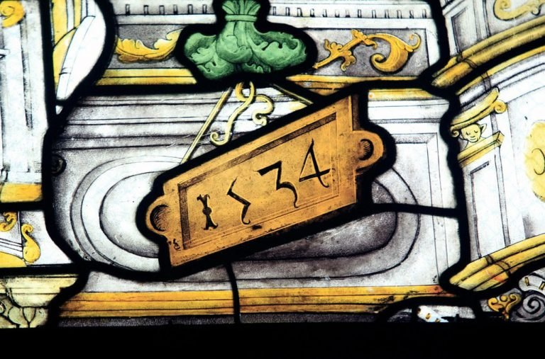 detail vitrail daté